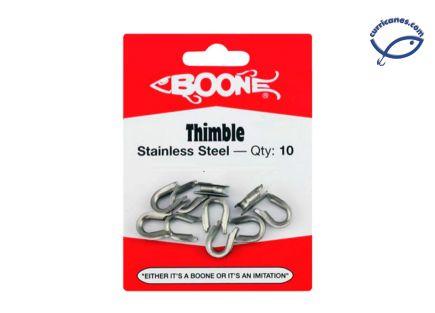 BOONE THIMBLES DE ACERO INOXIDABLE P/ MONO 400 LBS. (10 PIEZAS)