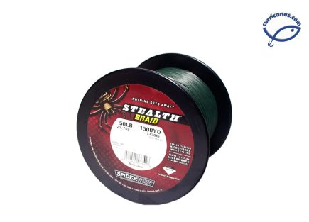 SPIDER LINEA STEALTH TRENZADA 150 LBS/1500 YDS, DIA. .026 PULGADAS VERDE